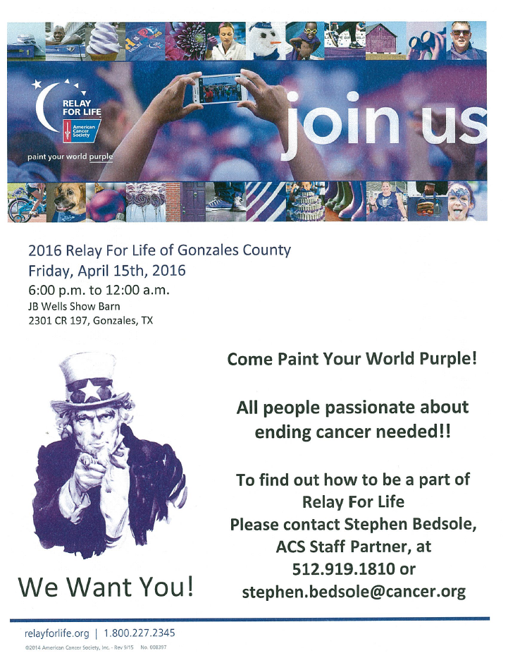 Relay For Life Of Gonzales County Gonzales Chamber Of