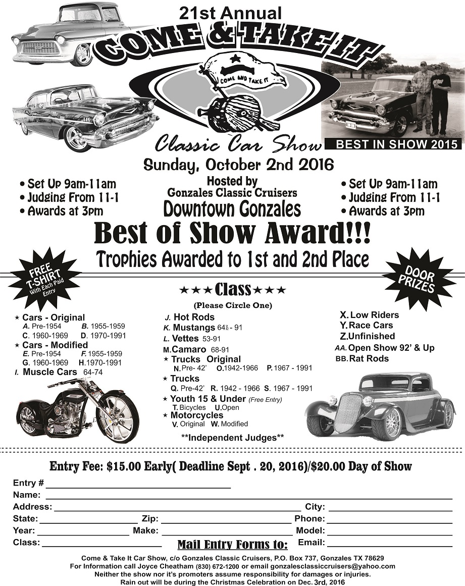 cti-car-show-2016 - Gonzales Chamber of Commerce & Agriculture