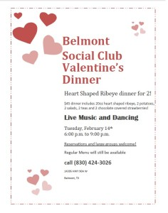 Belmont Social Club Valentine's Dinner @ Belmont Social Club | Gonzales | Texas | United States