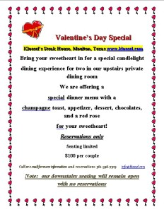 Valentine's Day Special w/Kloesel's Steak House @ Kloesel's Steak House | Moulton | Texas | United States