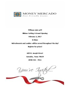 Money Mercado Ribbon Cutting & Grand Opening @ Money Mercado | Gonzales | Texas | United States