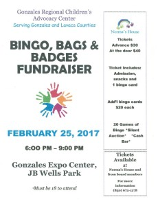 Bingo, Bags & Badges Fundraiser @ Gonzales Expo Center | Gonzales | Texas | United States