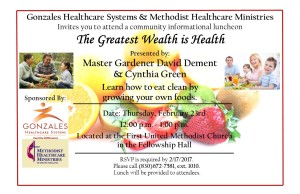 The Greatest Wealth is Health Lunch & Learn @ First United Methodist Church Fellowship Hall | Gonzales | Texas | United States