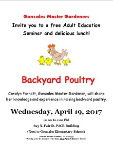 Gonzales Master Gardeners Backyard Poultry Class @ PACE Building | Gonzales | Texas | United States