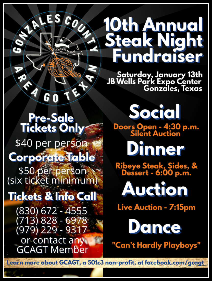 10th Annual Steak Night Scholarship Fundraiser Gonzales Chamber Of Commerce Amp Agriculture