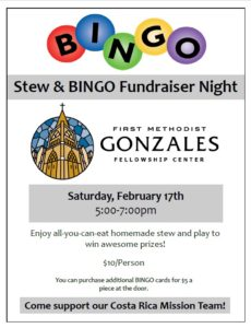Stew & Bingo Fundraiser Night at the First United Methodist Church @ First United Methodist Church | Gonzales | Texas | United States