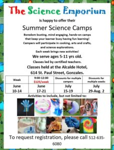 Science Emporium Summer Science Camp @ The Alcalde Hotel | Gonzales | Texas | United States
